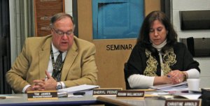 Region 16 Superintendent of Schools Tim James, left, presents his proposed $40.2 million budget for 2014-15 Feb. 26 at Long River Middle School in Prospect as Board of Education member Sheryl Feducia looks over the spending plan. –ELIO GUGLIOTTI