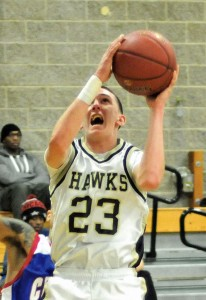 Woodland's Tanner Kingsley scored a team-high 11 points March 11 in a Class M state tournament first-round game versus St. Paul. The Hawks fell to St. Paul, 49-30. –FILE PHOTO