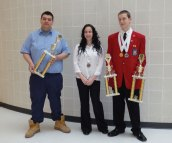 Prospect residents and Kaynor Technical High School students, from left, Nicholas Donnangelo, Taylor Girard and Matthew DiBlanda competed March 28 at the State Leadership Conference and Connecticut Skill Championships. DiBlanda took first place with his teammate Yasmin Jimenez (not pictured) in the promotional bulletin board competition. He also earned a medal in job interview and second place in spelling. In addition, he was honored as chapter co-president. Donnangelo was named state champion in collision repair, a day long hands-on competition where he had to demonstrate a variety of skills. Girard won a medal in skills connect nurse assisting. On June 23, DiBlanda and Donnangelo will be heading out to Kansas City, Mo. for six days to compete against the champions from the other 49 states, Puerto Rico, Virgin Islands and Guam. Kaynor Tech will be holding a pasta dinner on April 24 to defray the costs of travel and competition. For tickets or to donate, call Barbara Marroquin at (203) 578-8783. -CONTRIBUTED
