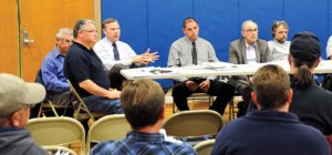 Members of the Board of Finance and Board of Selectmen discuss the proposed 2014-15 municipal budget with residents during a public hearing April 29 at Laurel Ledge School in Beacon Falls. The budget is scheduled to be voted on May 8. –LUKE MARSHALL