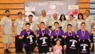 Volunteers from the first Karen Depalma 3 on 3 Basketball Tournament and the winning team pose for a picture following the tournament March 29 at Woodland Regional High School in Beacon Falls. Karen Depalma lost her battle with cancer in December. Her husband, Joe Depalma, also has cancer. The proceeds from the tournament will go to the Depalma family to either defer some of the treatment costs or to assist their children. Pictured, front row, Jessica Depalma. Middle row, Adem Rifati, Rich Rouseau, Nick Denze, Josh Depalma and Mike DeCampus. Back row, Chris Moffo, John Frasco, Mike Cavallo, Joe Depalma, Linda Blanc, Jessica Moffo, Kristine Lapierrier and Rich Blanc. -CONTRIBUTED