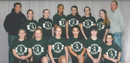 The Panthers, sponsored by Nardelli's Grinder Shoppe, recently won the 2013-14 Naugatuck YMCA Senior Girls Basketball League championship. The Panthers finished the season with a 9-1 regular season record and a 3-0 postseason record. Pictured, front row from left, Alissa McNeil (Coach's Award, B Squad), Alyssa Roberts, Cameron Diaz, Gabriella Carrelo (Most Improved, A Squad), Emily Kropo (Most Improved, B Squad) and Kayshla Diaz. Back row from left, assistant coach Steve Aronin, Haley Deitelbaum (Sportsmanship Award, A Squad), Skylar Thompson, Alexis Woods, Paige Anderson, Evelyn Diaz, Julia Pelliccia and coach Rick Pelliccia. -CONTRIBUTED