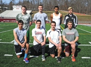 Naugatuck High seniors, front row from left, John Caruso, James Dorosh, Patrick McMahon, Adam Branco, back row from left, James San Angelo, Tyler Hayward, Kevin Johnson and William Zavodjancik are among the class of seniors for the track team that will lead the Greyhounds this season. –LUKE MARSHALL