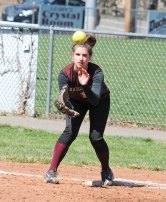 Naugatuck's Lauren Burns catches a throw to get the out at first versus Woodland April 17 at Breen Field in Naugatuck. The Hawks won the game, 6-5, in extra innings. –LUKE MARSHALL