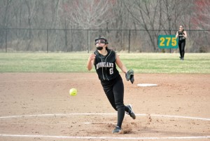 Woodland's Samantha Lee pitches Monday versus Wolcott in Beacon Falls. The Hawks beat the Eagles, 13-0, as Lee hurled a one-hit shutout with 10 strikeouts. –ELIO GUGLIOTTI