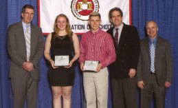 Naugatuck High School seniors Danielle Eitapence (second from the left) and William Zavodjancik Jr. (third from the left) were honored April 8 at the Aqua Turf in Plantsville during the Connecticut Association of Schools' 19th annual Arts Recognition Banquet. The banquet recognizes outstanding students in the visual and performing arts. Zavodjancik was recognized for art and Eitapence for music. –CONTRIBUTED