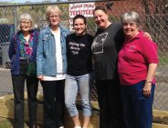 Naugatuck High School senior Rachel Fox, a girl scout with Troop 64188, completed her Gold Award project at the Naugatuck Day Care recently. Fox constructed and set up a garden, complete with soil and vegetable plants, with the help of the Naugatuck Garden Club. Pictured, from left, Garden Club member Terry Peirce, Garden Club President Renie Steinway, Fox, Naugatuck Day Care Food Service Manager Cindy Rivera and Garden Club Civic Chair Marty-Lee Fenton. –CONTRIBUTED