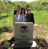 The family of the late Robert Paolino pose for a picture May 17 after a ceremony dedicating the meadow at Gunntown Passive Park and Nature Preserve to Paolino. Paolino, who served as Naugatuck mayor from 1991 to 1995, helped the borough acquire the land that would ultimately become the nature preserve. The Naugatuck Parks and Recreation Commission dedicated the meadow as well as the field at Linden Park and the Fawn Meadow Field to former mayor Joan Taf and the late Paul Bendler Sr. respectively. –CONTRIBUTED