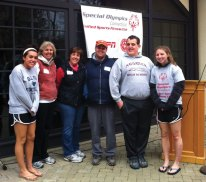 Naugatuck Special Olympics Unified Sports Fitness Walking Club members and Gunnery students participated in a walk recently held at The Gunnery in Washington, Conn. Participants from Naugatuck were, starting second from left, Trudy Segla, Donna Taylor, Jake Segla and Craig Taylor. –CONTRIBUTED