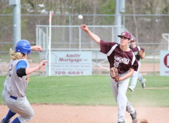 Naugatuck's Jason Bradley (19) throws to first base after getting the force out at second on Seymour's Zach Sirowich (42) May 7 in Naugatuck. Seymour won the game 3-1. The Greyhounds followed the loss with two wins. –ELIO GUGLIOTTI