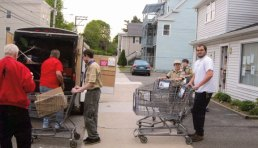 Boy Scouts from Troop 109 in Naugatuck recently delivered 10 boxes and 67 bags of food donations as well as $253.49 in cash donations to the Naugatuck Ecumenical Food Bank. –CONTRIBUTED