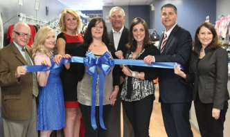 A grand opening ceremony was held May 23 at Two Cousins Closet, a consignment clothing store located at 18 Church St. Pictured, from left, state Sen. Joe Crisco (D-17) Naugatuck Chamber of Commerce Chair Yvette Wilmot, Naugatuck Deputy Mayor Tamath Rossi, co-owner Ana Lage, Naugatuck Economic Development Corporation CEO Ron Pugliese, co-owner Deborah Selmani, Naugatuck Mayor Robert Mezzo and state Rep. Rosa Rebimbas (R-70). –CONTRIBUTED