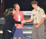 Boy Scout Zachary Mason of Troop 138 in Naugatuck is congratulated by state representatives Lezlye Zupkus (R-89), center, and Rosa Rebimbas (R-70) May 28 at St. Michael's Episcopal Church after earning the rank of Eagle Scout. Mason, who improved the field at Peter J. Foley Little League for his Eagle Scout project, was presented with a special citation from the Connecticut General Assembly by the legislators. –CONTRIBUTED