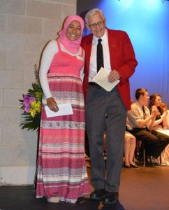 Woodland senior Ayah Galal, left, with Boardman Kathan. Galal received the Dr. E. Irene Boardman Scholarship during the annual Senior Scholarship Night June 12. –CONTRIBUTED