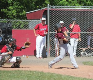 Post 17's Adam Tavares rips a single Sunday afternoon at Rotary Field in Naugatuck versus Oakville. Post 17 lost the game, 10-0, but started the season 2-1 and is looking to challenge for its first Zone 5 title since 2007. –ELIO GUGLIOTTI .