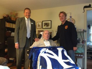 Naugatuck firefighter Tim Andrew will run Mt. Washington on June 21 to raise money for Bob Veillette, a Naugatuck resident who has a rare form of paralysis called locked-in syndrome. Andrew is raising money to offset medical costs to help Veillette stay at home. 'There is a lot of out of pocket expense for his care, so this is something I have to do,' Andrew said. Andrew is running the race for sixth, and possibly last, time for Veillette. The race starts at an altitude of 1,527 feet and climbs about 4,618 feet, ending up at 6,288 feet at the top. Andrew trains for the race by running up and down Horton Hill Road. Pictured, from left, Charles Boulier III, president and CEO of Ion Bank, which is also collecting money, Veillette and Andrew. Checks can be made out to Bob Veillette Trust Fund and mailed to Ion Bank, care of Brian Divito, 87 Church St., Naugatuck, CT 06770. –PAUL SINGLEY