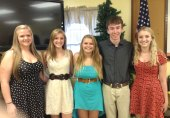 The Beacon Falls Lions Club recently awarded a total of $8,000 in scholarships to high school graduates, from left, Katie Farrell, Alexa Kiernan, Brittany Bachleda, Jeff Lauck, and Casey Stevens. –CONTRIBUTED