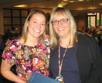 Ellen Demagistris, RN, of Prospect, right, won the Mary Schumacher Leadership Award with fellow nurse Kate Topazio of Shelton. The nurses were honored by Griffin Hospital during a recent Nurses Week luncheon and ceremony. -CONTRIBUTED