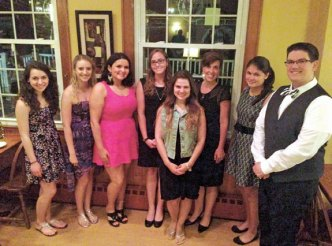 The Camille B. Perugini Charitable Trust awarded seven scholarships totaling $10,000 this year to Wolcott High School graduate Ersilda Ajce, Woodland Regional High School graduate Casey Rae Stevens, Naugatuck High School graduate Katarina Gullotta, Naugatuck High School graduate Amanda Gelada, Wolcott High School graduate Rachel Langley, Woodland Regional High School graduate Angeline Rosato and Sacred Heart High School graduate Alexander Rinaldi. The scholarship was created in memory of the late Camille B. Perugini, who was able to attend Boston College and achieve her goals of becoming a teacher because of the scholarships she received as a Wolcott High School graduate. More than $188,000 has been awarded since the scholarship's inception in 1998. Pictured, from left, Ajce, Stevens, Langley, Rosato, Gelada, attorney Carla M. Perugini-Erickson, Gullotta and Rinaldi. –CONTRIBUTED