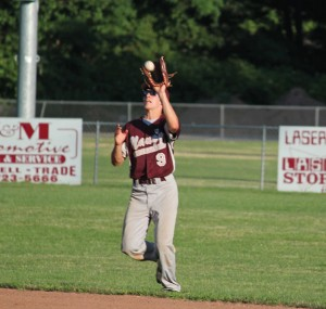 Post 17's Jason Bradley catches a pop fly July 11 versus Prospect-Beacon Falls in Naugatuck. Post 17 won the game 18-0. –ELIO GUGLIOTTI