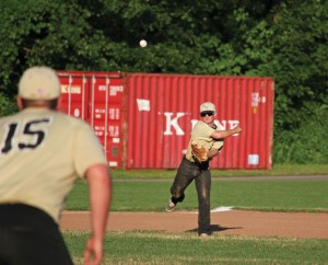 Prospect-Beacon Falls' Mike Gondola throws to first for an out July 11 versus Post 17 in Naugatuck. Prospect-Beacon Falls fell 18-0 to Post 17. –ELIO GUGLIOTTI