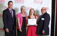 The Connecticut Dunkin' Donuts Franchisees awarded a $1,000 scholarship to Woodland Regional High School graduate Alexa Kiernan at a recent awards ceremony held at the Oakdale Theatre in Wallingford. Students were selected for the scholarship on the basis of a well-rounded character, including a positive academic record, and demonstrated leadership in school and community activities. Pictured, from left, emcee Mark Dixon, Lt. Gov. Nancy Wyman, Kiernan and Dunkin' Donuts franchisee Manny Rocha. -CONTRIBUTED