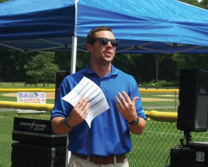The Susie Foundation Executive Director Ryan Matthews speaks during the annual Susie Classic kickball fundraiser last year in Beacon Falls. This year's event is Saturday at the Pent Road Recreation Complex. –FILE PHOTO