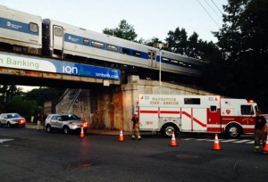A Metro North train is stopped after a man was hit and killed on Tuesday night. –PAUL SINGLEY, REPUBLICAN AMERICAN