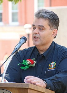 Alberto Janeiro addresses the audience in front of Naugatuck Town Hall during a ceremony naming him Portuguese Mayor of the Day Aug. 29. The ceremony kicked off the Portuguese Club's annual Sao Paio Festival. –LUKE MARSHALL
