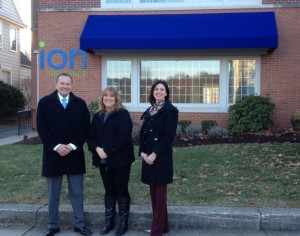 From left, Ion Bank President Charles Boulier III, United Way of Naugatuck and Beacon Falls Executive Director Lisa Shappy and Naugatuck YMCA CEO Susan Talbot stand outside the building at 270 Church St. in Naugatuck. The Ion Bank Foundation will turn the building into a community center for nonprofit organizations. –REPUBLICAN-AMERICAN