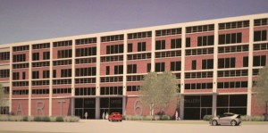 An artist's rendering of what the General DataComm building on Rubber Avenue in Naugatuck could look like after being renovated into a mixed-use facility under the Art6 project. –CONTRIBUTED