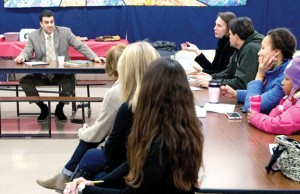 Region 16 Superintendent of Schools Michael Yamin talks with parents and stakeholders more deeply about implementing full-day kindergarten in the district at Algonquin School in Prospect Jan. 16. –REPUBLICAN-AMERICAN