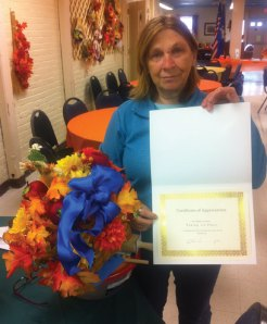 Liz Lubin won first place for her apple cake entry at the Naugatuck Senior Center's 10th annual Apple Harvest Festival on Oct. 8. –CONTRIBUTED