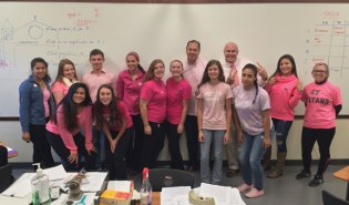 Naugatuck High School students and staff participated in Pinkapalooza in October. During the event, which was organized by the Student Council, students promoted breast cancer awareness by wear pink to school. Students who wore pink made a $1 donation and received a raffle ticket and Breast Cancer Awareness sticker. Students and staff raised over $500 to donate to the National Breast Cancer Foundation. Pictured, NHS Student Council advisor Rich Troy, teacher Jose Sendra and students from Sendra's period four class. –CONTRIBUTED