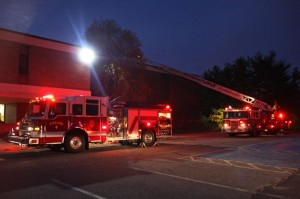 Firefighters responded to a small fire at City Hill Middle School in Naugatuck Monday night. –LUKE MARSHALL