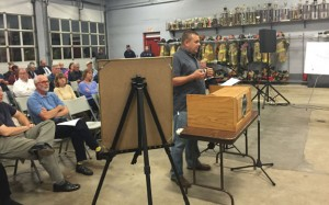 Beacon Hose Company No. 1 Fire Chief Jim Trzaski speaks to the Connecticut Siting Council about a proposed fuel cell park expected to be built in Beacon Falls Nov. 5 at the firehouse. –REPUBICAN-AMERICAN
