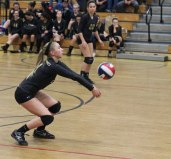 Woodland's Jenna Boncal bumps the ball during the Class M quarterfinals versus Rockville Friday in Beacon Falls, Woodland won, 3-0. –ELIO GUGLIOTTI