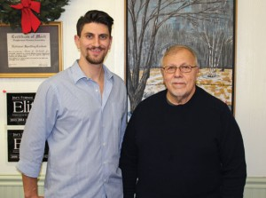 Dave DeCarlo, left, and his father, Rocco DeCarlo, Jr., owner of DeCarlo's Thrifty Cleaners and Formal Wear in Naugatuck, are pictured in the store. The dry cleaners is closing at the end of this year after 65 years in business. –LUKE MARSHALL