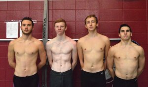 Naugatuck seniors and boys swimming captains, from left, Nick Ryan, Colby Storm, Martin Lippai and Nick Fox will guide the Greyhounds as they seek to contend for a league title this season. –ELIO GUGLIOTTI