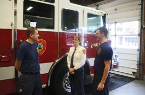 Naugatuck interim Fire Chief Ellen Murray, center, talks with firefighters Ethan Gagnon, left, and Kevin Gorman late last month at fire headquarters on Maple Street. Gagnon and Gorman are two of the six new firefighters that were recently hired by the department. –LUKE MARSHALL