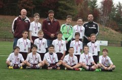 The Naugatuck Youth Soccer U12 Monsoons took first place in the NIST tournament Nov. 8 and were undefeated in their division, and were State Cup finalists in Farmington on Nov. 7. Pictured, back row from left, coach Kevin Kennelly, Louis Zarrella, coach Robert Fanzutti, Adrian Szmitko, Cameron Jacobs, coach, Manuel Silva; middle row from left, Ahmed Aljamal, Ryan Kennelly, Robbie Fanzutti, Joe Pinho, Patrick Osiecki; front row from left, David Deforge, Yigit Yilmaz, Timothy Rosa, Manny Silva, Ed Przydzial and Chance Chonklin. -CONTRIBUTED