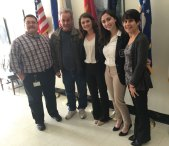 Naugatuck High School DECA officers Alanna Readel and Amanda Rinaldi visited the Connecticut Department of Veterans Affairs in Rocky Hill in January as part of their public relations project to increase awareness of the issue of U.S. veteran homelessness. Pictured, from left, Vocational Rehabilitation Counseling Coordinator Chuck Leone, a veteran who lives at the Rocky Hill residential facility, Rinaldi, Readel and Director of Residential Programs and Services Maria Cheney. –CONTRIBUTED