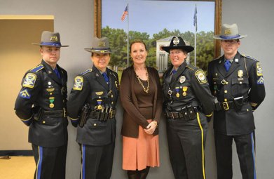 Local officers and state troopers were honored recently at the Connecticut State Police Awards. State Rep. Lezlye Zupkus (R-89), center, ranking member of the legislature's Public Safety Committee, was on hand to congratulate the winners. Pictured, from left, Trooper Benjamin Kores from Troop I (medal for lifesaving), Troop I Commander Lt. Kelly, Zupkus, Beacon Falls police Officer Caroline O'Bar and Prospect Resident State Trooper Matthew Comeau (medal for lifesaving). –CONTRIBUTED