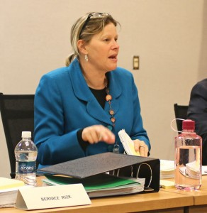 Naugatuck Superintendent of Schools Sharon Locke presents her 2016-17 budget proposal to the Board of Education Feb. 18. The proposal would keep spending at its current level. –LUKE MARSHALL