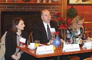State Rep David Labriola, R-Oxford, center, speaks during the Naugatuck Chamber of Commerce's annual Legislative Breakfast Tuesday at Jesse Camille's Restaurant in Naugatuck. Labriola was joined by state Rep. Rosa Rebimbas, R-Naugatuck, left, and state Sen. Joan Hartley, D-Waterbury. –LUKE MARSHALL