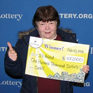 Jill Roland, of Naugatuck, claims her CT Lottery prize last week. –CONTRIBUTED