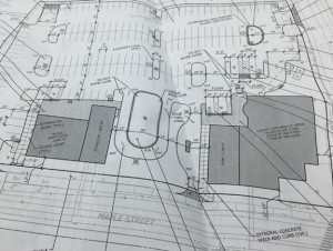 A photo of the site plans for the development of Parcel C at the corner of Maple and Water streets in Naugatuck.