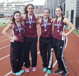The Naugatuck girls 4x200 relay team, from left, Ariana Alvarado, Jasime Grey, Kyla Magalhaes and Rachel Garcia, set a school record (1:50.61) at the Class L state indoor track meet Saturday. –CONTRIBUTED