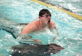 Woodland's Jake Stow does the breaststroke during the 200 individual medley versus Holy Cross Feb. 9 in Beacon Falls. –ELIO GUGLIOTTI