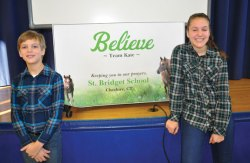 John and Samantha Strell, of Prospect, arranged a dress down day Jan. 21 at their school, St. Bridget School in Cheshire, to raise funds for 11-year-old Kate Amato, of Jacksonville, Fla. Amato is battling stage 4 Rhabdomyosarcoma, an aggressive soft tissue cancer. Over $3,000 was raised. –CONTRIBUTED